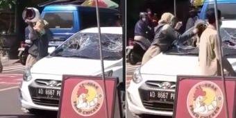 Viral Wanita Berseragam PNS di Ngawi Ngamuk Pecah Kaca Mobil, Seorang Wanita Keluar dari Mobil
