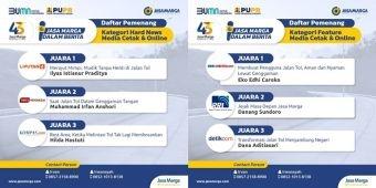 Peringati HUT ke-43, PT Jasa Marga Umumkan Pemenang Lomba Karya Jurnalistik, Ini Daftarnya