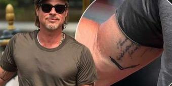 Brad Pitt Pamer Tatto Unik di Lipatan Siku Kanan