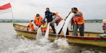 Wujudkan Perikanan Tangguh Lamongan 2021, Bupati Fadeli Tebar 90 Ribu Benih Ikan di Waduk Prijetan